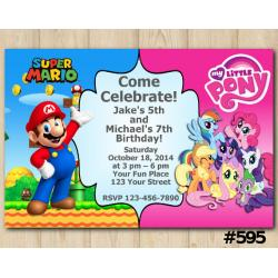 Twin Super Mario and My Little Pony Invitation