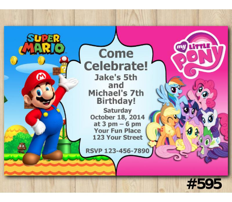 Twin Super Mario And My Little Pony Birthday Invitation Joint Twin