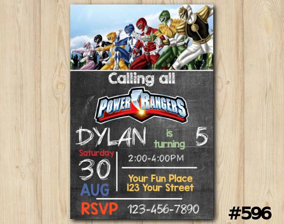 Power Rangers Invitation   Personalized Digital Card