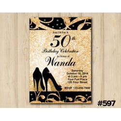 Adult Gold Shoe Invitation