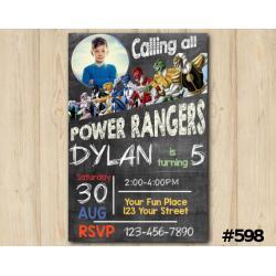 Power Rangers Invitation with Photo