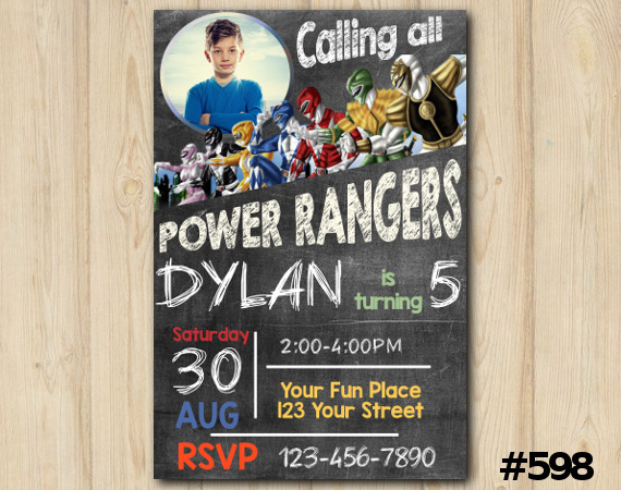 Power Rangers Invitation with Photo | Personalized Digital Card
