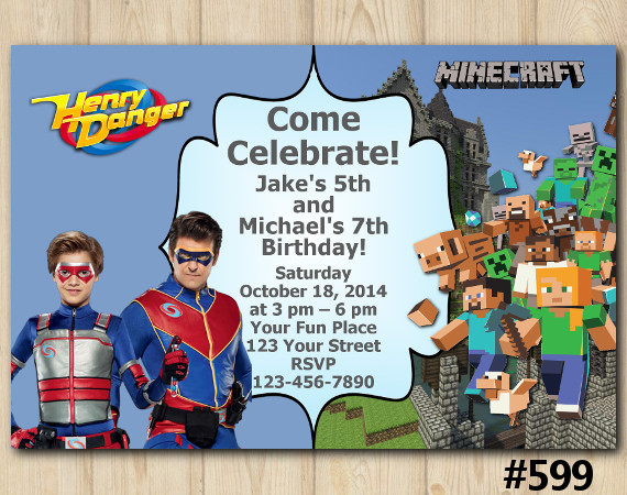 Twin Henry Danger and Minecraft Invitation | Personalized Digital Card