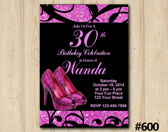 Adult Pink Shoe Invitation | Personalized Digital Card