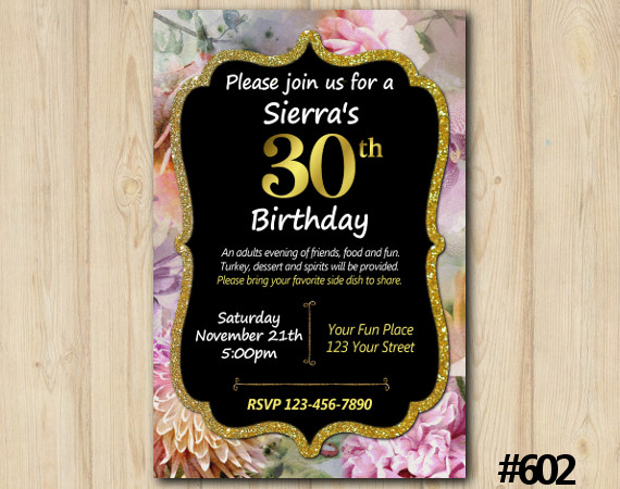 Adult Floral Invitation   Personalized Digital Card