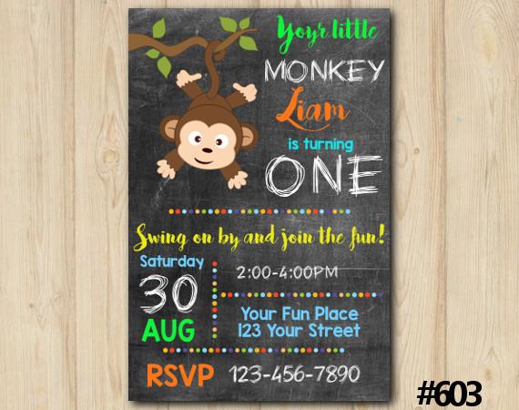 Little Monkey Invitation   Personalized Digital Card
