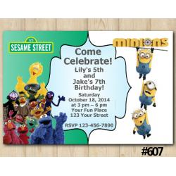Twin Sesame Street and Minions Invitation
