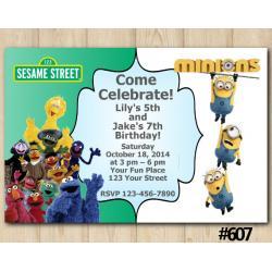 Twin Sesame Street and Minions Invitation