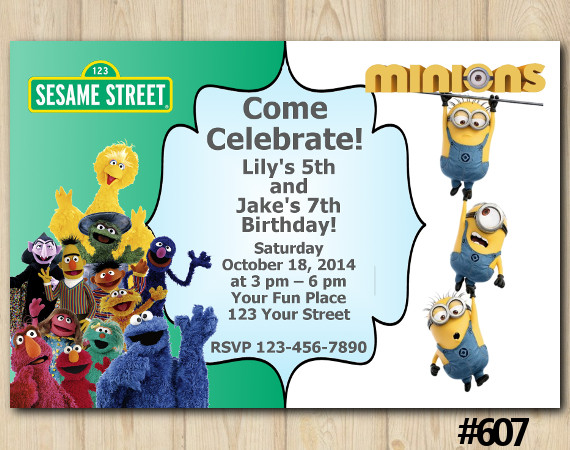 Twin Sesame Street and Minions Invitation | Personalized Digital Card