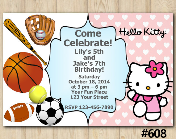 Twin Sport and Hello Kitty Invitation   Personalized Digital Card