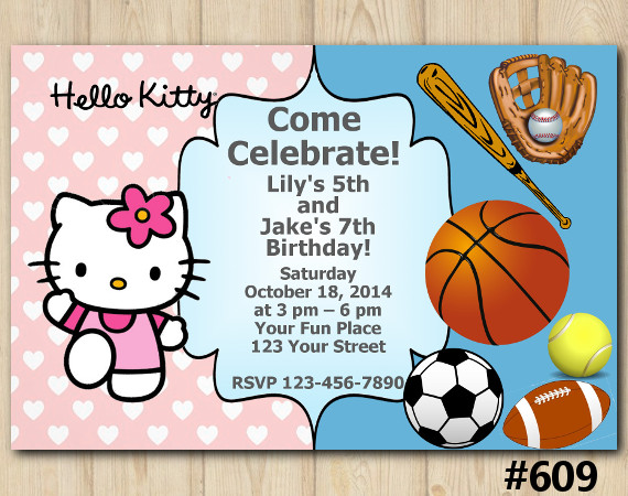 Twin Sport and Hello Kitty Invitation | Personalized Digital Card
