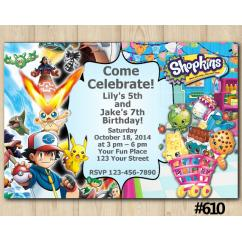 Twin Pokemon and Shopkins Invitation