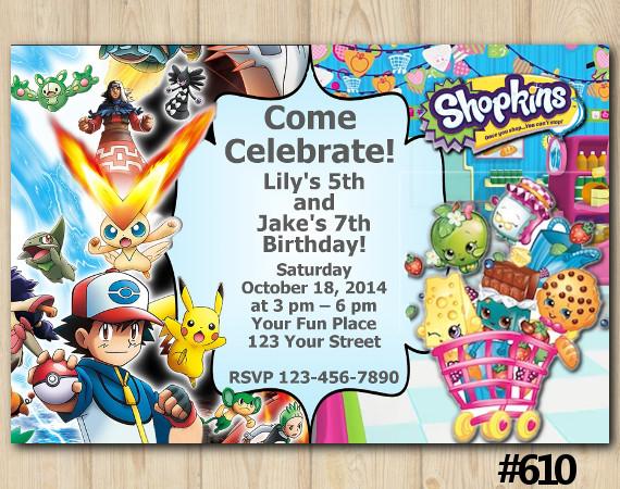 Twin Pokemon and Shopkins Invitation | Personalized Digital Card