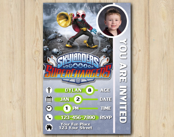 Skylanders Superchargers Photo Game Card Invitation with Photo | Fiesta Birthday Invitation | Personalized Digital Card