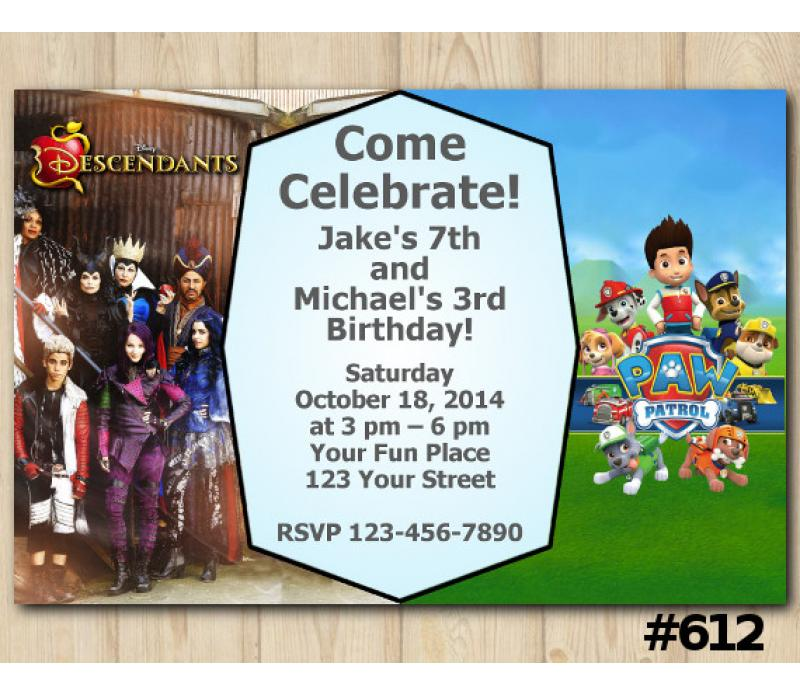 Twin Descendants And Paw Patrol Invitation