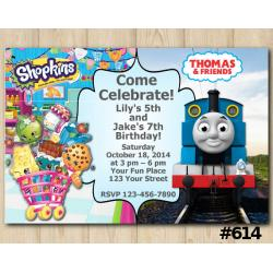 Twin Shopkins and Thomas and Friends Invitation
