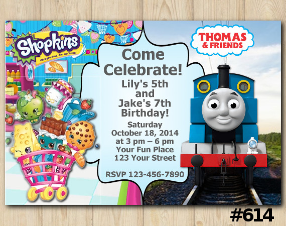 Twin Shopkins and Thomas and Friends Invitation | Personalized Digital Card