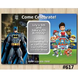 Twin Batman and Paw Patrol Invitation