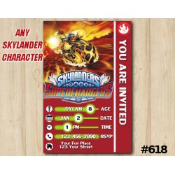 Skylanders Superchargers Game Card Invitation | Eruptor