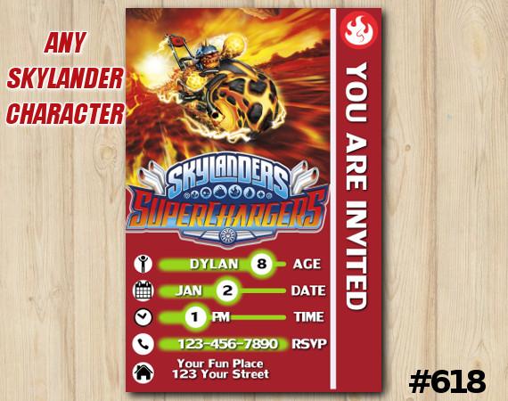 Skylanders Superchargers Game Card Invitation | Eruptor | Personalized Digital Card