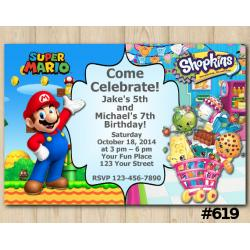 Twin Super Mario and Shopkins Invitation