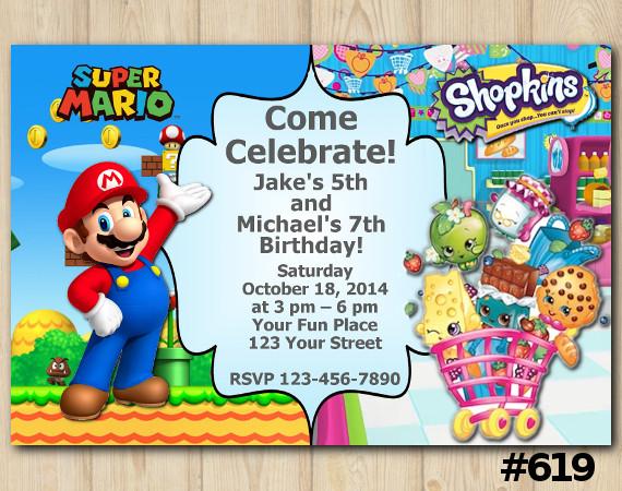 Twin Super Mario and Shopkins Invitation | Personalized Digital Card