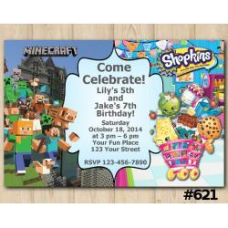 Twin Minecraft and Shopkins Invitation