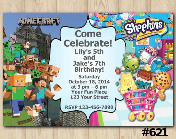 Twin Minecraft and Shopkins Invitation | Personalized Digital Card