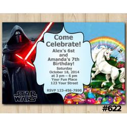 Twin Star Wars and Unicorn Invitation