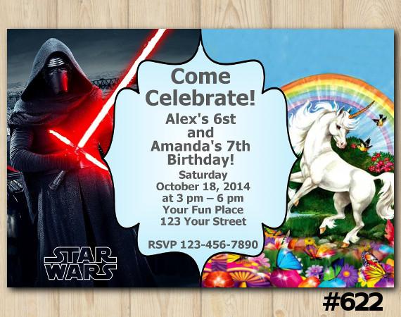 Twin Star Wars and Unicorn Invitation | Personalized Digital Card