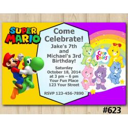 Twin Super Mario Brothers and Care Bears Invitation