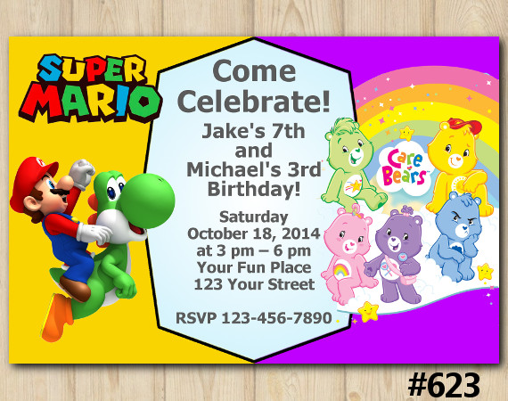 Twin Super Mario Brothers and Care Bears Invitation | Personalized Digital Card