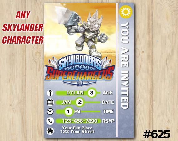 Skylanders Superchargers Game Card Invitation | Astroblast | Personalized Digital Card