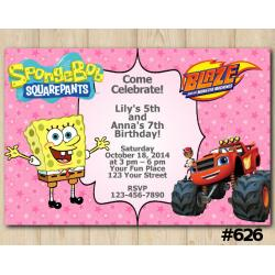 Twin Spongebob and Blaze Invitation