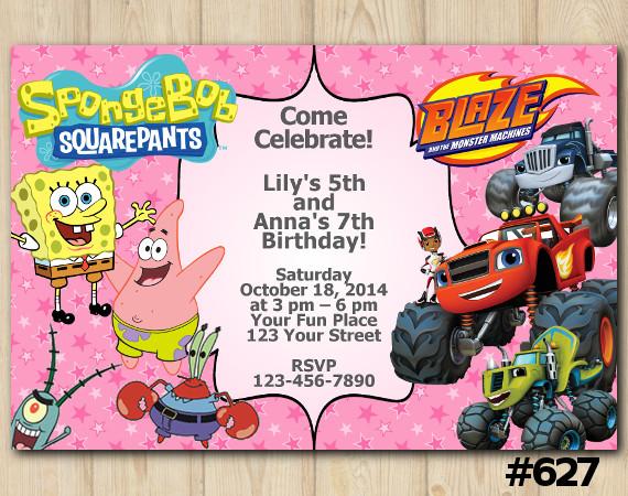 Twin Spongebob and Blaze Invitation | Blaze and the Monster Machines | Spongebob, Patrick Star, Mr. Krabs | Personalized Digital Card