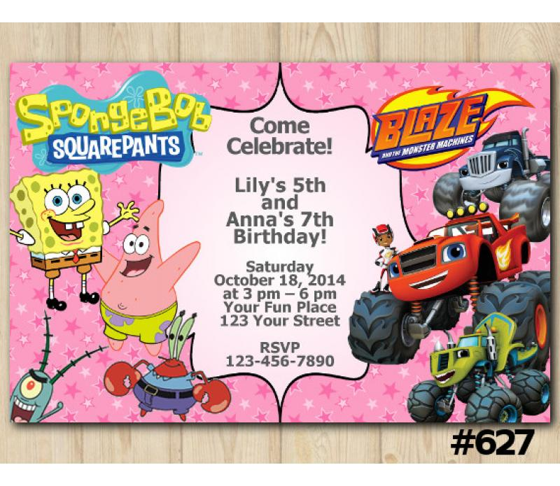 Twin Spongebob And Blaze Invitation