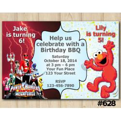 Twin Power Rangers and Elmo Invitation