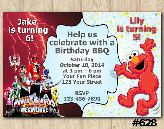 Twin Power Rangers and Elmo Invitation | Personalized Digital Card