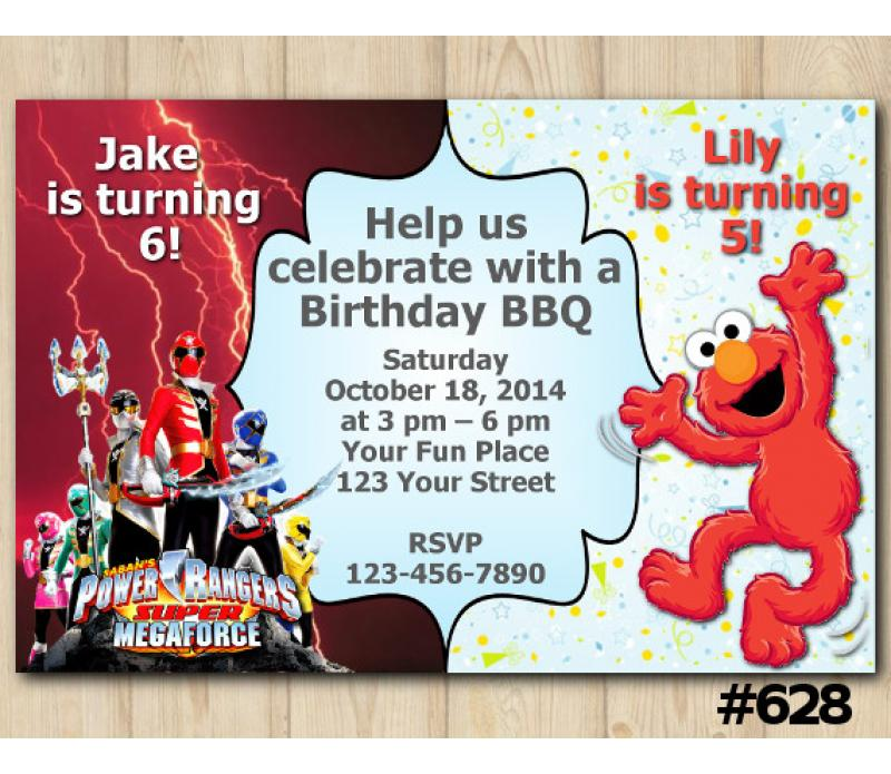 Twin Power Rangers And Elmo Birthday Invitation Joint Twin