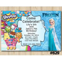 Twin Frozen and Shopkins Invitation