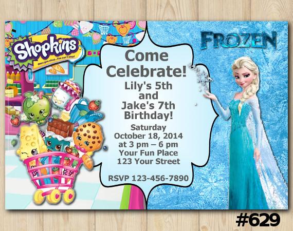 Twin Frozen and Shopkins Invitation | Personalized Digital Card