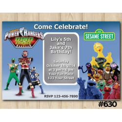 Twin Power Rangers and Sesame Street Invitation