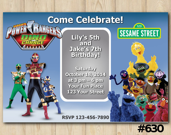 Twin Power Rangers and Sesame Street Invitation | Personalized Digital Card