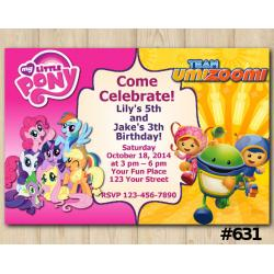 Twin My Little Pony and Team Umizoomi Invitation