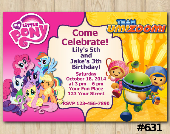 Twin My Little Pony and Team Umizoomi Invitation | Personalized Digital Card