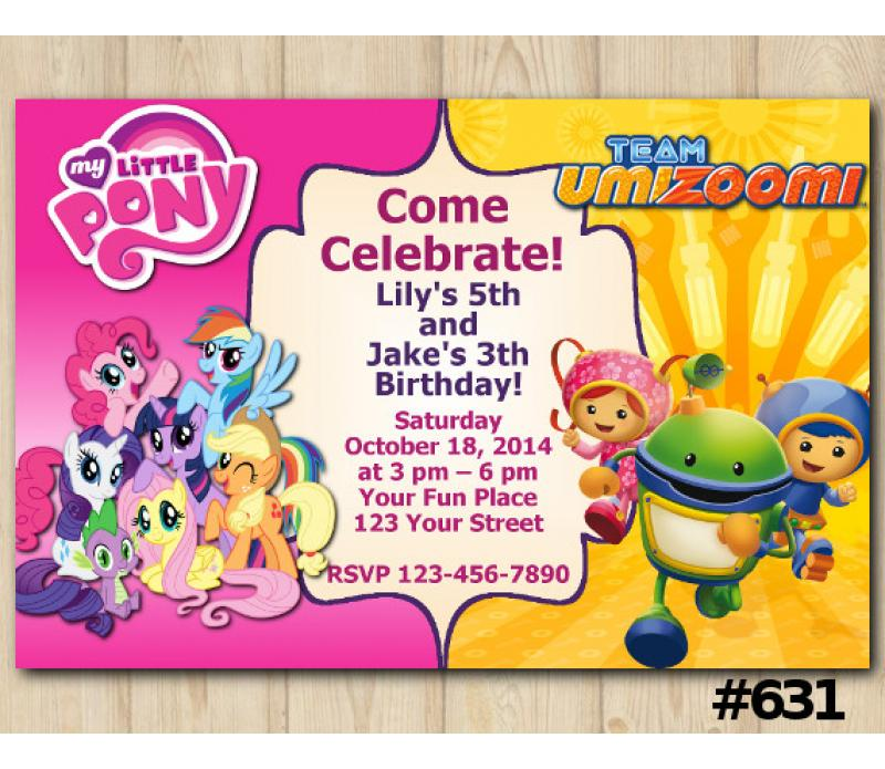 Twin My Little Pony And Team Umizoomi Invitation Personalized Digital Card