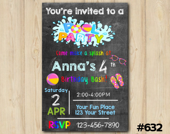 Pool Party Invitation   Personalized Digital Card