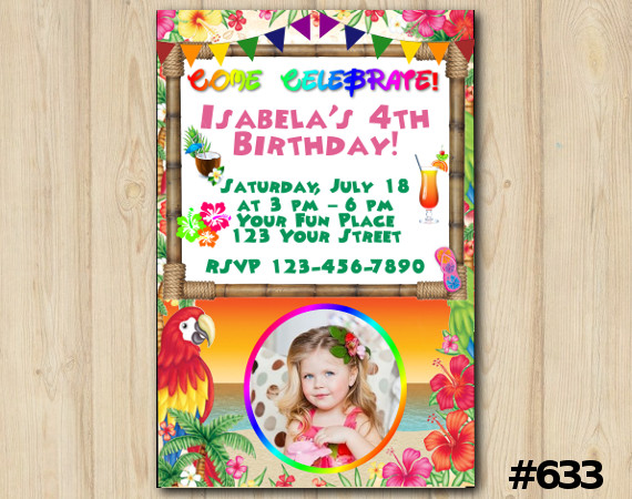 Luau Invitation with Photo | Personalized Digital Card