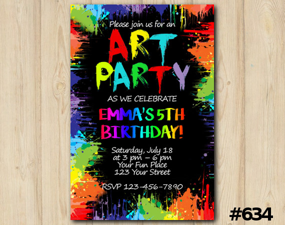 Art Party Invitation   Personalized Digital Card
