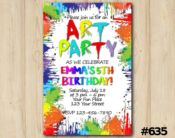 Art Party Birthday Invitation | Personalized Digital Card